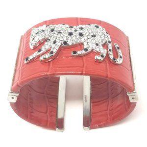 Women's Designer Leather Red Wrist Cuff Bracelet